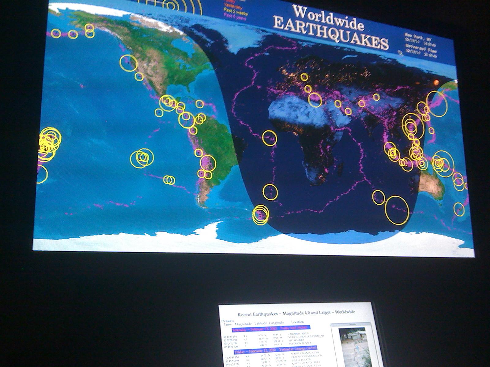 Display of earthquakes, worldwide