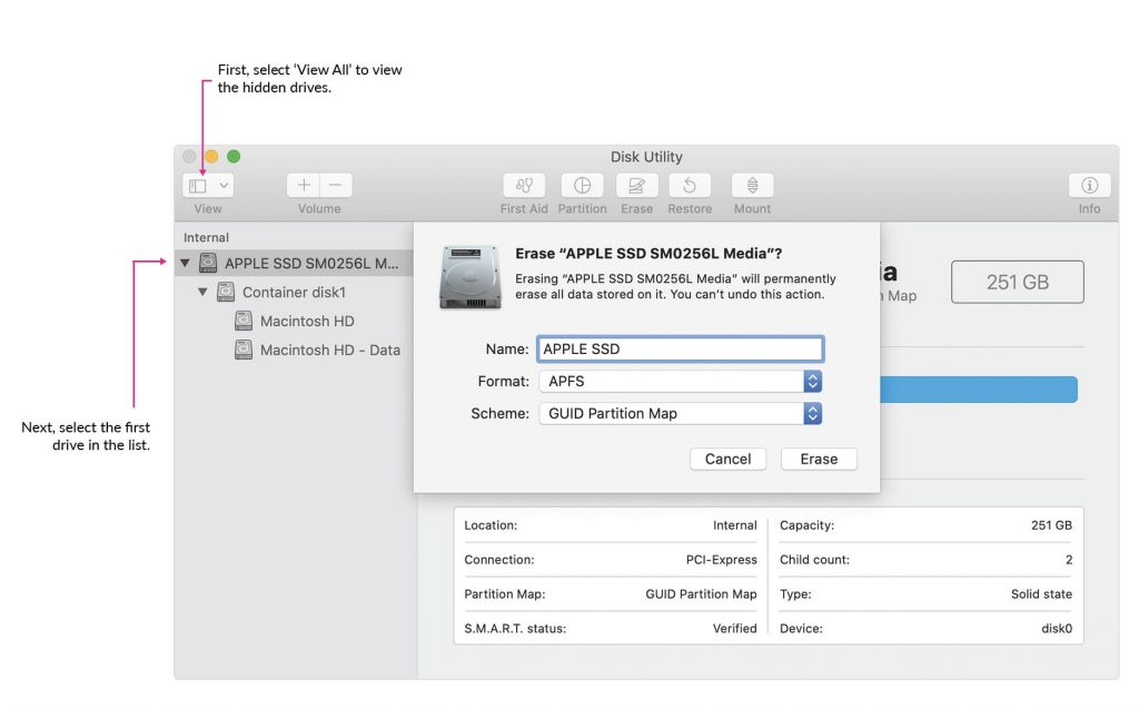 Annotated image of Disk Utility.