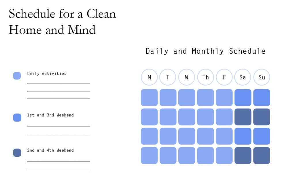 Schedule for daily and monthly cleaning tasks.