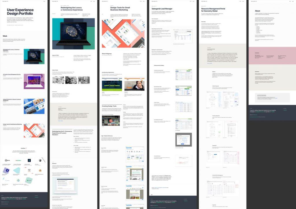 Screenshots of portfolio site, on a black background.