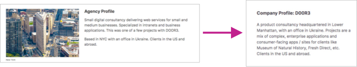 Background section showing a change to the Agency Profile with image to description with a short paragraph.