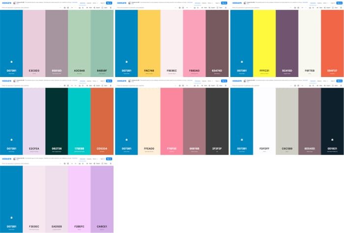 Screenshot of a collection of screenshots, of coordinating colors